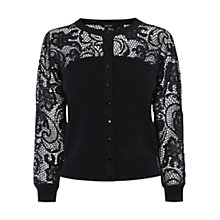 Buy Karen Millen Statement Lace Cardigan, Black Online at johnlewis.com