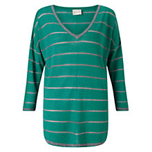 Buy East Metallic Stripe Jumper, Lagoon Online at johnlewis.com