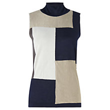 Buy Jigsaw Silk Patchwork Knit Tank Top, Navy Online at johnlewis.com