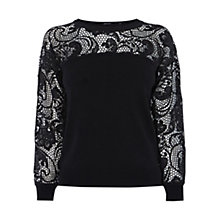 Buy Karen Millen Statement Lace Jumper, Black Online at johnlewis.com