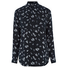 Buy Warehouse Leaf Print Shirt, Blue/Pattern Online at johnlewis.com