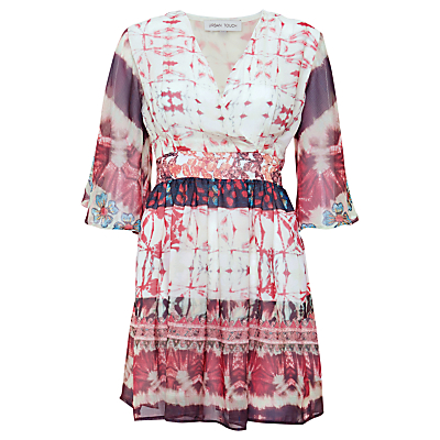 Urban Touch Ethnic Print Crossover Dress, Cream