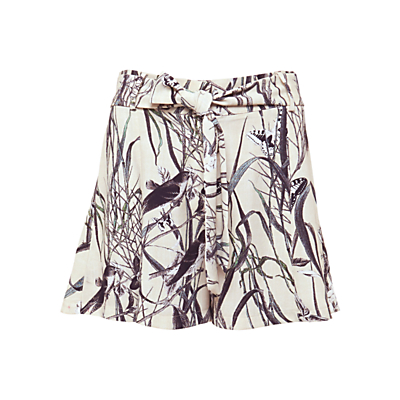 Urban Touch Bird Print Pleated Shorts, Cream
