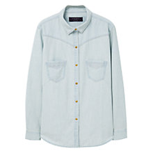 Buy Violeta by Mango Bleached Denim Shirt, Open Blue Online at johnlewis.com