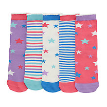 Buy John Lewis Girls' Stars and Stripes Socks, Pack of 5, Multi Online at johnlewis.com