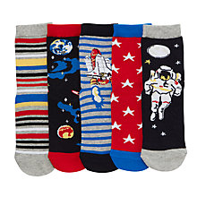 Buy John Lewis Boys' Space Socks, Pack of 5, Multi Online at johnlewis.com