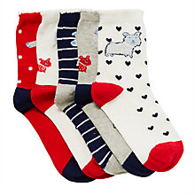 Buy John Lewis Girls' Dog Socks, Pack of 5 Online at johnlewis.com