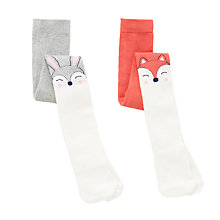 Buy John Lewis Girls' Animal Tights, Pack of 2, Multi Online at johnlewis.com