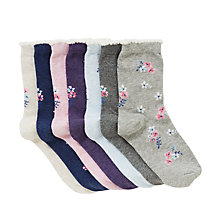 Buy John Lewis Girls' Vintage Floral Socks, Pack of 7, Grey/Pink Online at johnlewis.com
