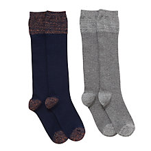Buy John Lewis Girls' Metallic Knee High Socks, Pack of 2, Navy/Grey Online at johnlewis.com