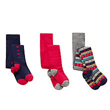 Buy John Lewis Girls' Fair Isle and Heart Tights, Pack of 3, Multi Online at johnlewis.com
