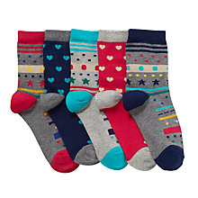 Buy John Lewis Pattern Socks, Pack of 5, Grey/Red Online at johnlewis.com