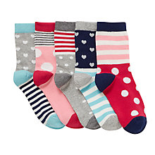 Buy John Lewis Girls' Spots and Stripes Socks, Pack of 5, Multi Online at johnlewis.com