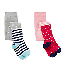 Buy John Lewis Girls' Hearts Spots Tights, Pack of 2, Multi Online at johnlewis.com