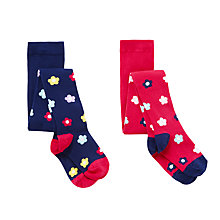 Buy John Lewis Girls' Bold Flower Tights, Pack of 2, Multi Online at johnlewis.com