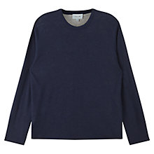 Buy Jigsaw Linen Cotton Double Layer Crew Sweatshirt, Navy Online at johnlewis.com