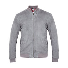 Buy Ted Baker Vipers Suede Bomber Jacket, Grey Online at johnlewis.com