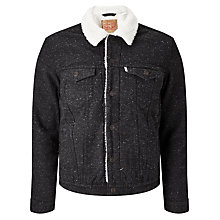 Buy Levi's Sherpa Twill Jacket, Black Online at johnlewis.com