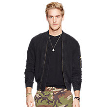 Buy Denim & Supply Ralph Lauren Cotton Bomber Jacket, Polo Black Online at johnlewis.com