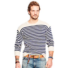Buy Denim & Supply Ralph Lauren Striped Jumper, Cream/Navy Online at johnlewis.com