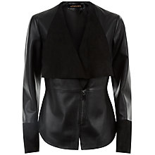Buy Jaeger Leather Suede Panel Jacket, Black Online at johnlewis.com