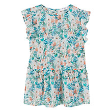 Buy Mango Ruffled Sleeve Blouse, Green Online at johnlewis.com