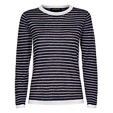 Buy Jaeger Linen Stripe Sweater, Navy/Ivory Online at johnlewis.com