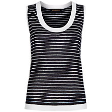 Buy Jaeger Linen Stripe Vest, Navy/Ivory Online at johnlewis.com