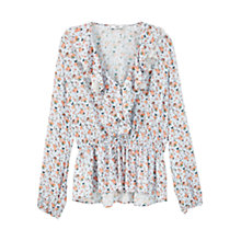 Buy Mango Ruffled Sleeve Blouse, Light Beige Online at johnlewis.com