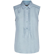 Buy Jaeger Linen Pin Tuck Blouse Online at johnlewis.com