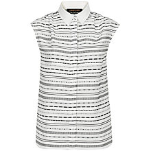 Buy Jaeger Embroidery Stripe Shirt, Ivory/Black Online at johnlewis.com