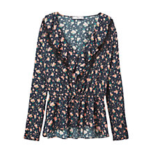 Buy Mango Ruffled Neck Blouse, Black Online at johnlewis.com