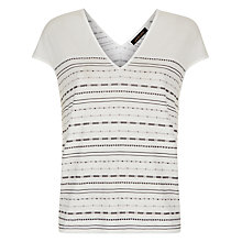 Buy Jaeger Embroidery Stripe T-Shirt, Ivory/Black Online at johnlewis.com