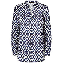 Buy Jaeger Ikat Linen Tunic Top, Navy/Ivory Online at johnlewis.com