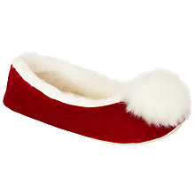 Buy John Lewis Christmas Pom Ballet Slippers, Red Online at johnlewis.com