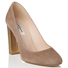 Buy L.K. Bennett Manila Block Heeled Court Shoes, Latte Online at johnlewis.com
