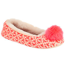 Buy John Lewis Fair Isle Pom Ballet Slippers, Multi Online at johnlewis.com
