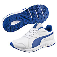 Buy Puma Children's Laced Axis V4 Trainers, White/Blue Online at johnlewis.com