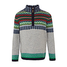Buy John Lewis Boys' Fair Isle Knitted Zip Jumper, Grey/Green Online at johnlewis.com