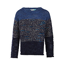 Buy John Lewis Boys' Textured Block Stripe Jumper, Blue Online at johnlewis.com