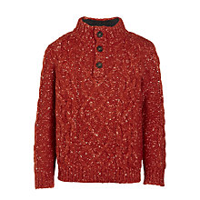 Buy John Lewis Boys' Cable Knit Button Jumper, Rust Online at johnlewis.com