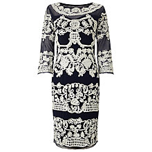 Buy Phase Eight Serefina Tapework Dress, Navy/Cream Online at johnlewis.com