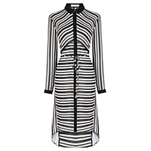 Buy Oasis Stripe Longline Shirt Dress, Black/White Online at johnlewis.com