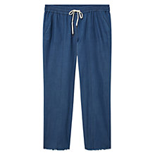Buy Violeta by Mango Straight Cotton Trousers, Medium Blue Online at johnlewis.com