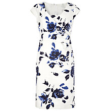 Buy Jacques Vert Petite Floral Print Wrap Detail Dress, Cream/Navy Online at johnlewis.com