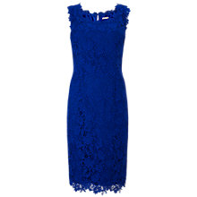 Buy Jacques Vert V-Neck Lace Dress, Mid Blue Online at johnlewis.com