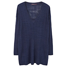 Buy Violeta by Mango Openwork Jumper, Navy Online at johnlewis.com