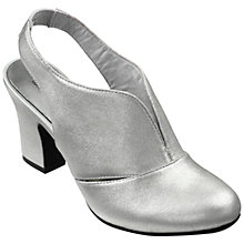Buy Hotter Christie Block Heeled Sling Back Court Shoes, Soft Silver Leather Online at johnlewis.com