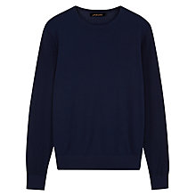 Buy Jaeger Pima Pique Sleeve Sweatshirt, Navy Online at johnlewis.com