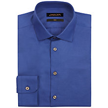 Buy Jaeger Cotton Dobby Chevron Slim Fit Shirt, Blue Online at johnlewis.com